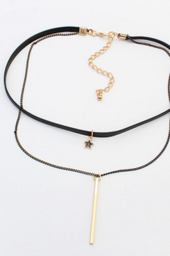 The European and American fashion double pendant necklace