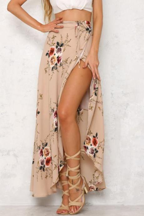 Floral Print Maxi Wrap Skirt Featuring High Slit and Ribbon Accent