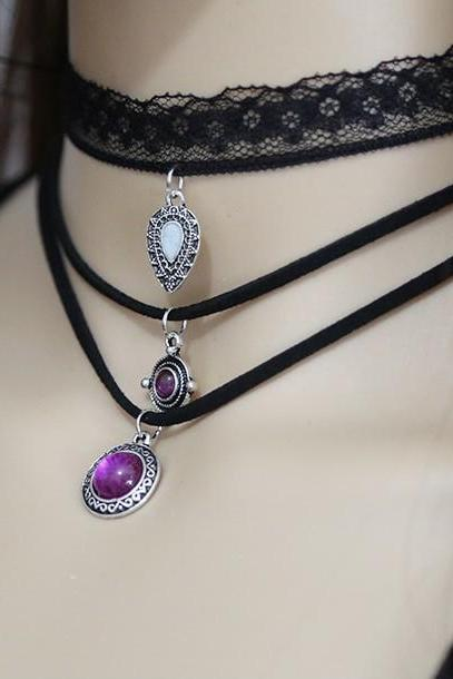 Lace multi-layer leather cord necklace