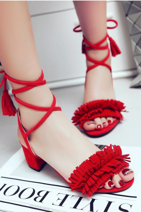 Peep-Toe Tassel Lace-Up Low Chunky Heels