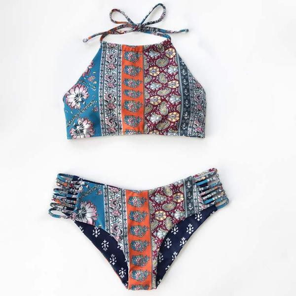 2017 New Summer Sexy Print Two Pieces Swimwear Bikini