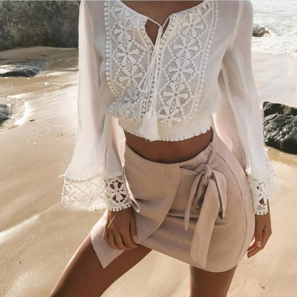 White Crochet Lace Plunge V Long Flare-Sleeved Cropped Top Featuring Tassel Detailing