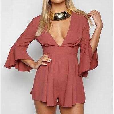 Deep V-neck 3/4 Trumpet Sleeves Short Jumpsuit