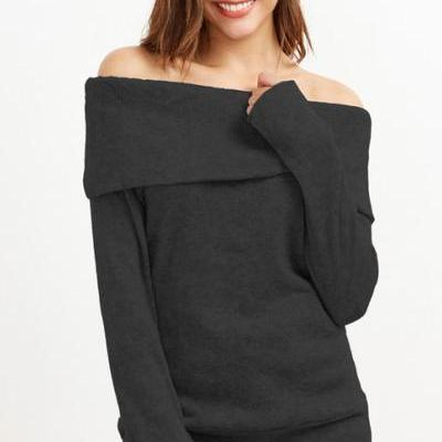 Pure Color Long Sleeves Off Shoulder Sweater