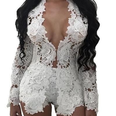Lace Hollow-out Blazer with Shorts Two Pieces Set