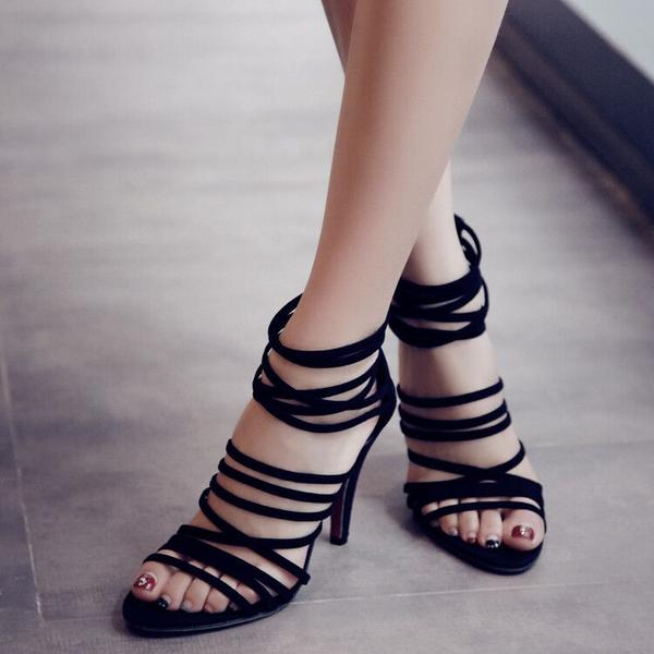 Peep-Toe Strappy Caged Stilettos, High Heels