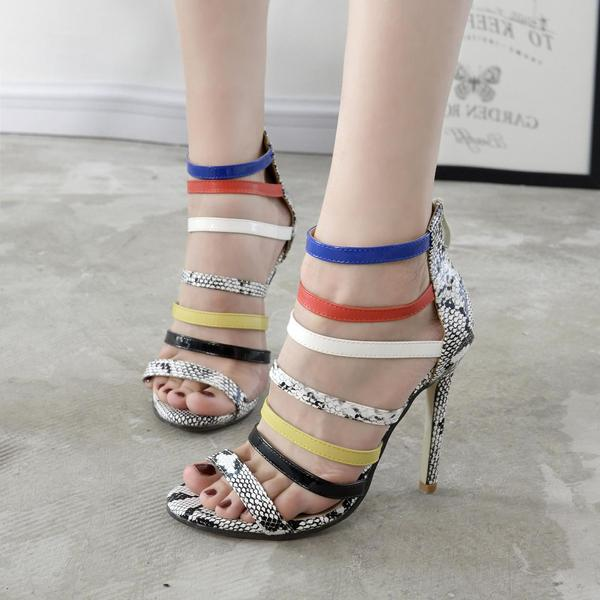 Peep-toe PU Straps Zipper High Stiletto Heel Sandals