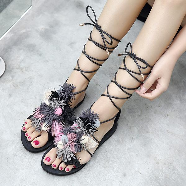 Peep-toe Tassels Ball Ankle Strap Flat Sandals