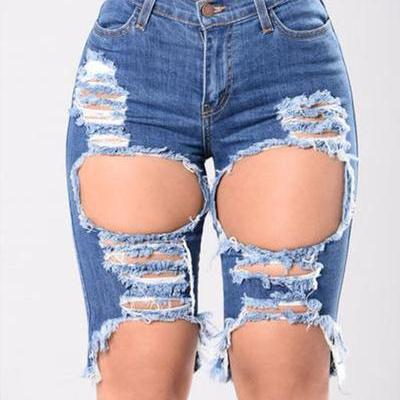 High Waist Hole Slim Sexy Denim Shorts