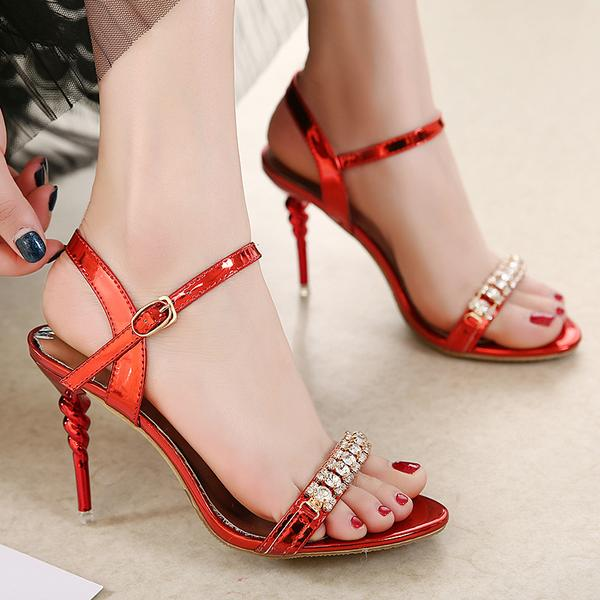 Shinning Rhinestones Open Toe Stiletto High Heels Party Sandals