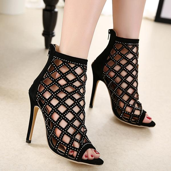 Roman Style Cut Out Ankle Length Peep-toe Short Boot Sandals