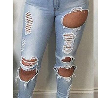 High Waist Cut Out Rough Holes Pocket Long Skinny Jeans