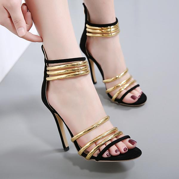 Open Toe Ankle Wraps Stiletto Heels Back Zipper Sandals