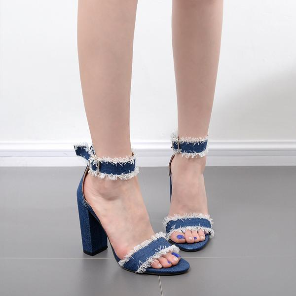 Rough Edge Denim Open Toe Ankle Wrap Chunky High Heels Sandals