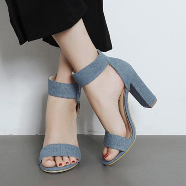 Chunky High Heel Open Toe Sandals with Thick Ankle Strap