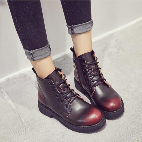 British Round Toe Lace Up Plat Short Martin Boots