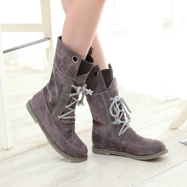 Suede Round Toe Lace Up Half Flat Boots