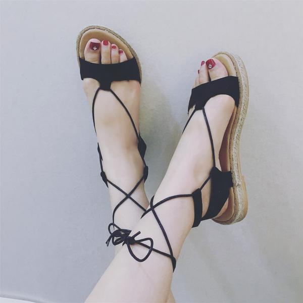 Open-Toe Lace-Up Beaded Flats Sandals