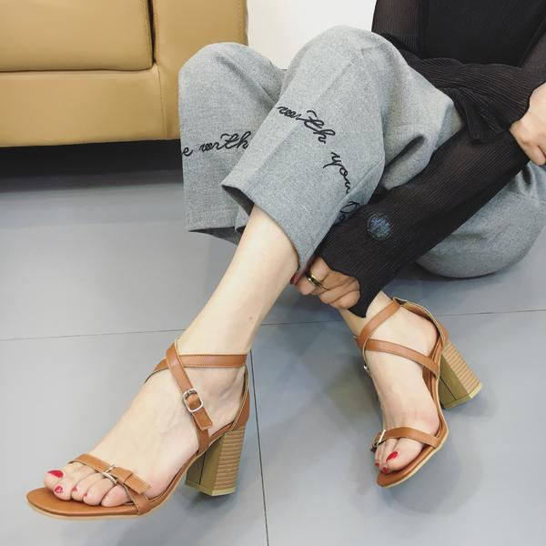 Faux Leather Square Open-Toe Crisscross Strap Chunky Heels
