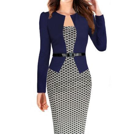 Plaid Patchwork Long Sleeves Knee-length Pencil Dress With Belt on