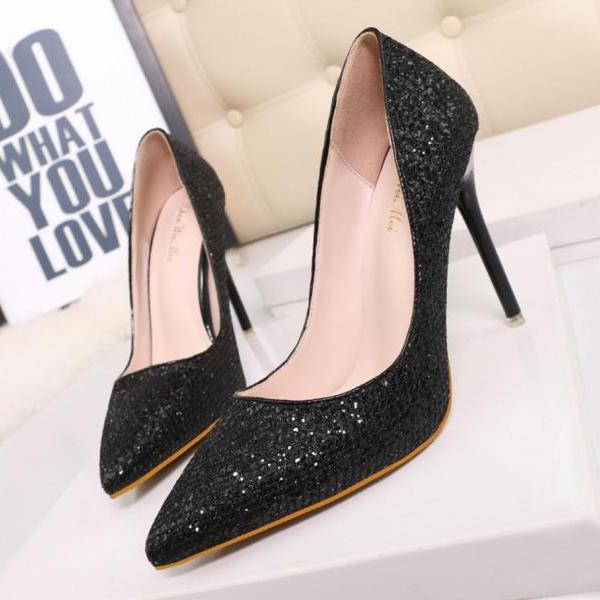 Sequins Pointed-Toe High Heel Stilettos