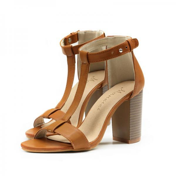 Open-Toe T-Strap Block Heels Sandals