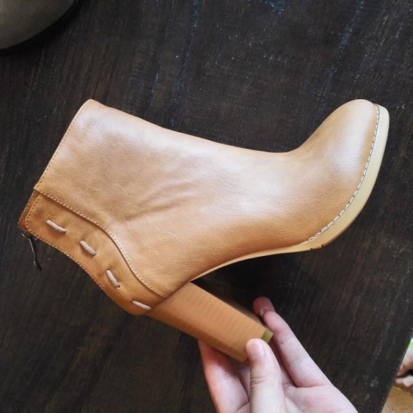 Retro Round Toe Back Zipper High Chunky Heels Short Boots