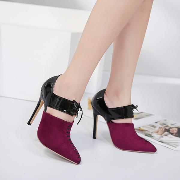 Color Block Pointed Toe Lace Up Ankle Wrap Stiletto High Heels