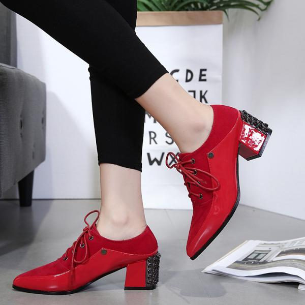 Pointed Toe Lace Up Low Chunky Heels Rivets Matin Heels