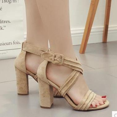 Solid Color Ankle Wrap Cross Open Toe High Chunky Heels Sandals
