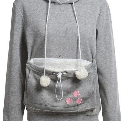 Cat Paw Print Big Pocket Ball Decorate Slim Hoodie