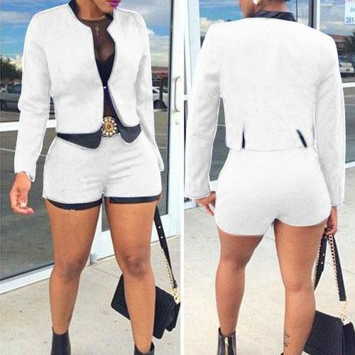 Slim Patchwork Jacket with Slim High Waist Shorts Two Pieces Set