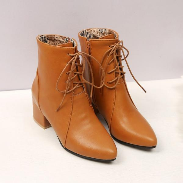 PU Pure Color Chunky Heel Pionted Toe Lace-up Short Boots