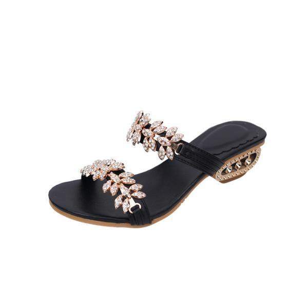 PU Slipper Pure Color Chunky Heel Peep-toe Sandals