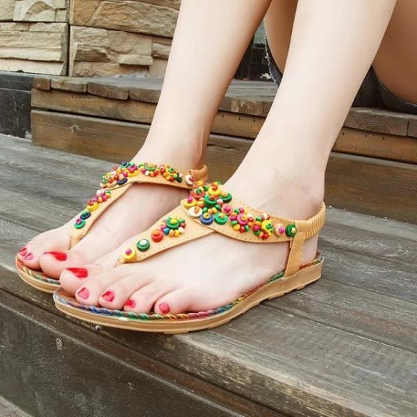 PU Pure Color Flat Peep-toe Ankle Strap Sandals
