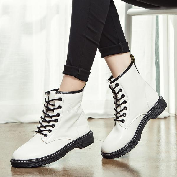 PU Chunky Heel Round Toe Pure Color Lace-up Short Boots