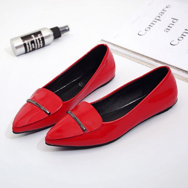 Pure Colour Pointed-Toe Metal Bar Flats Shoes