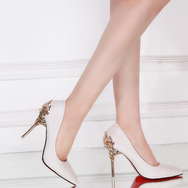 Faux Suede Pointed-Toe High Heel Stilettos Featuring Metal Encrusted Filigree