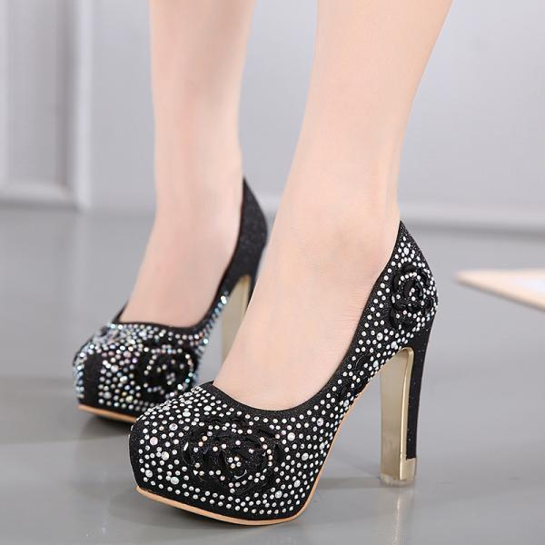 Black Rhinestone Embellished Round Toe Pumps with Thick High Heel, Bridal Heels