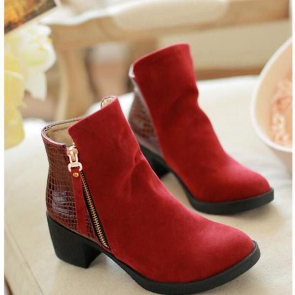 Suede Chunky Heel Pure Color Round Toe Short Boots