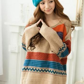 Deer Patterns Color Block Stripes Sweater