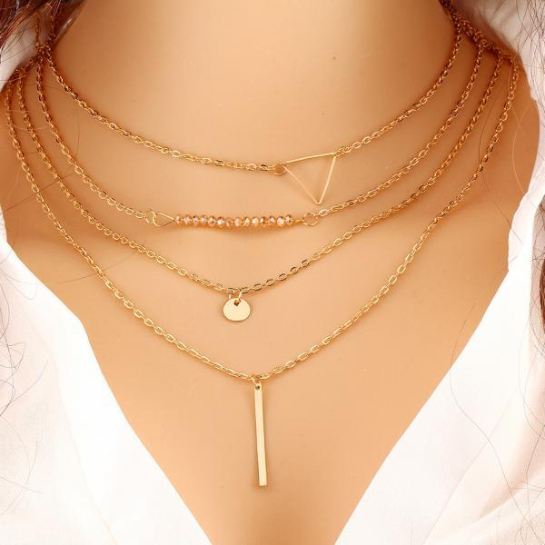Fashion Contracted MoMu Multilayer Triangle Necklace