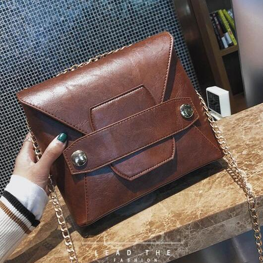 Vintage PU Zipper Women Crossbody Bag