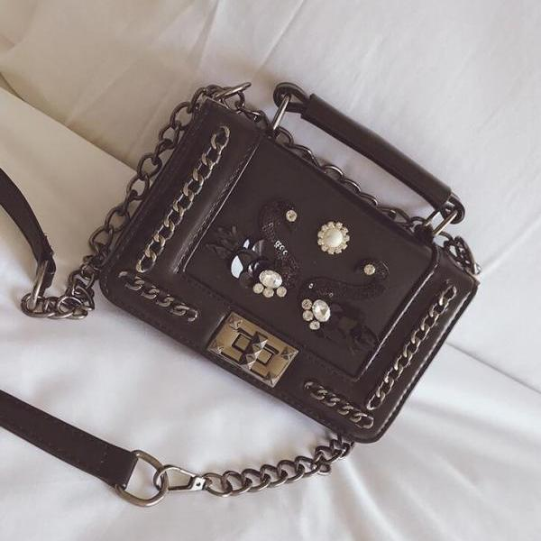 Chic Swan Decoration PU Crossbody Bag