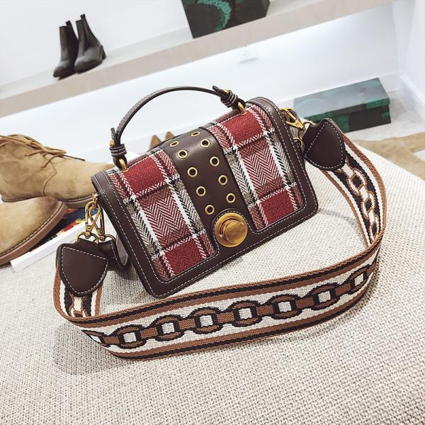 Classic Plaid Color Block Crossbody Bag