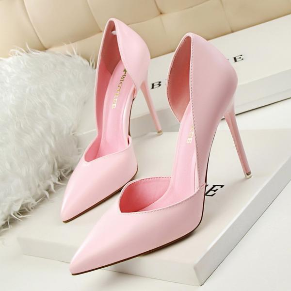 Pink Faux Leather Pointed-Toe High Heel Stilettos