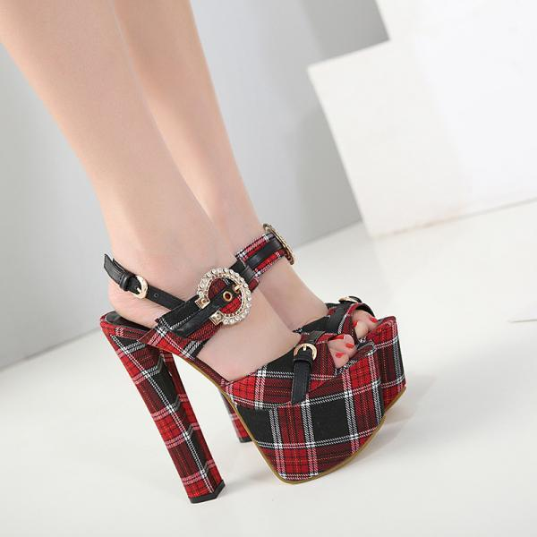 Hasp Plaid Peep Toe Platform Super High Stiletto High Heel Sandals