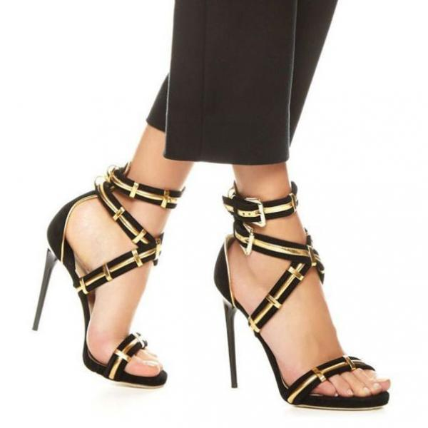 Gold Black Simple Ankle Wrap Straps Open Toe Stiletto High Heel Sandals
