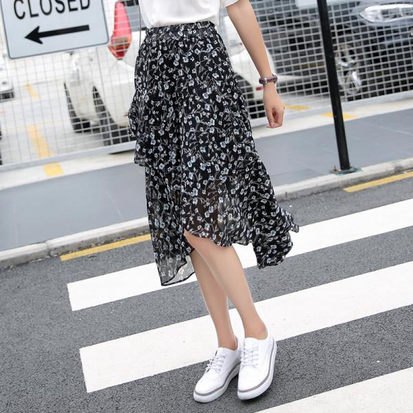 Irregular High Waist Floral Print Loose Tee-length Mermaid Skirt