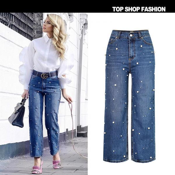 Pearls Packets High Waist Pure Color Loose Zipper Wide-legs Long Pants